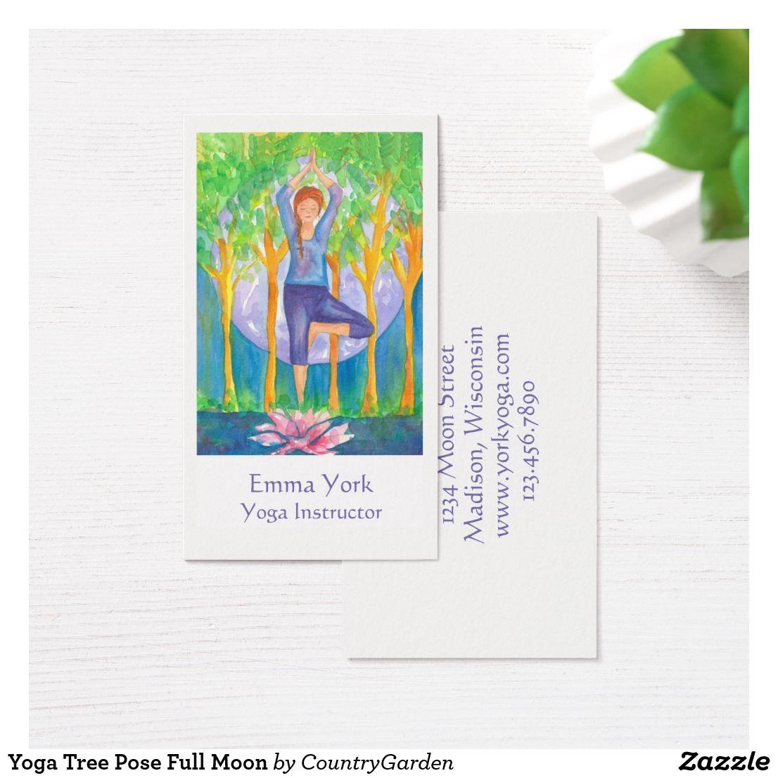 Yoga tree pose full moon business card yoga tree pose business yoga tree pose full moon business card colourmoves Images