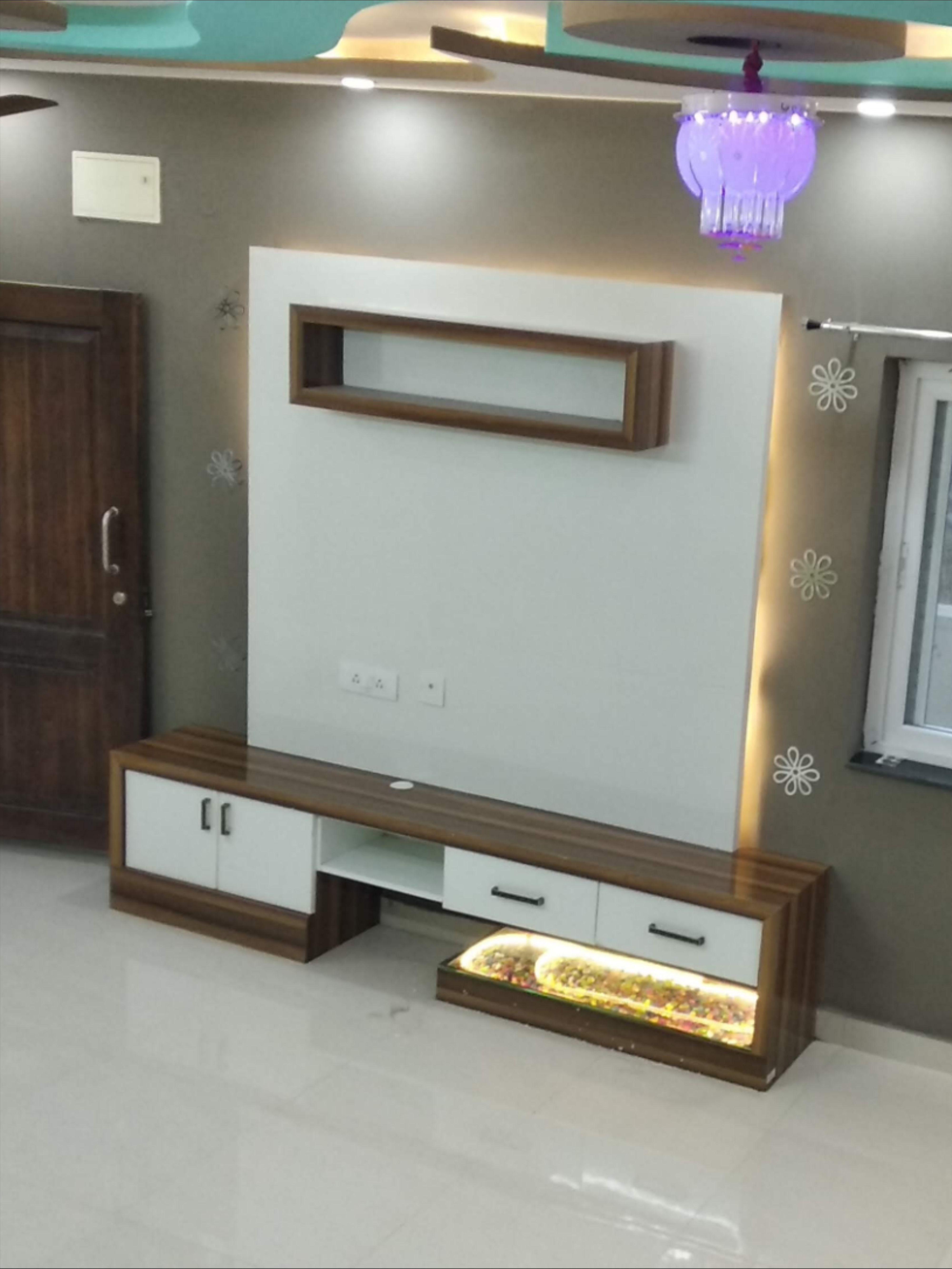 Elegant And Straightforward Tv Unit At Villa Living Room Colorful