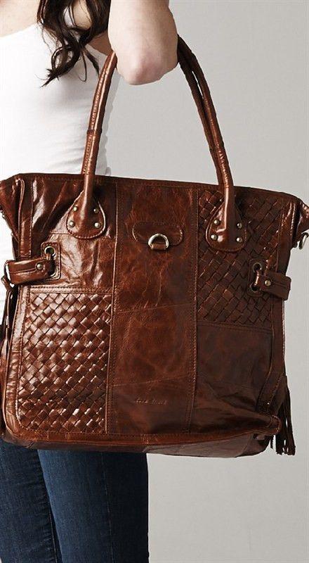 Genuine Leather Woven Handbag