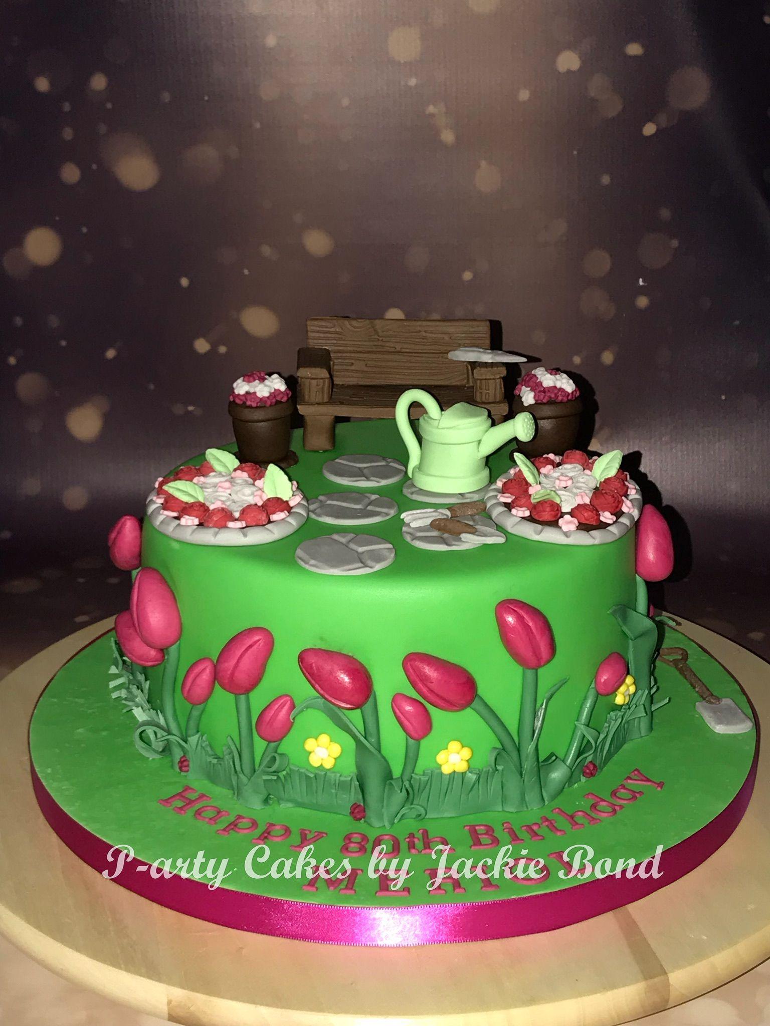 Gardening themed 80th birthday cake My homemade cakes