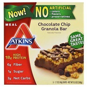 Atkins, Chocolate Chip Granola Bar, 5 Bars, 1.69 oz (48 g) Each #atkinsmeals
