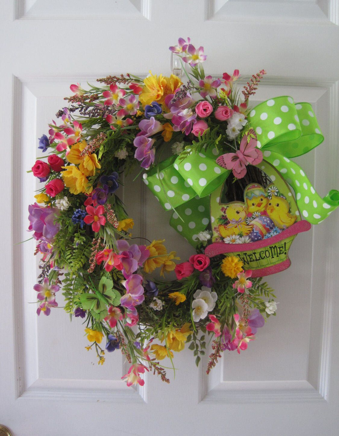 Easter wreath easter basket chicks welcome wreath front door easter wreath easter basket chicks welcome wreath front door wreath bright mixed rubansaba