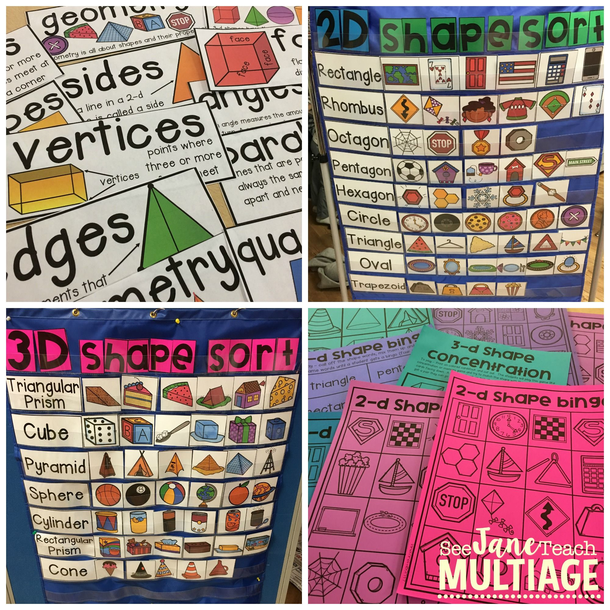 2 D And 3 D Shape Sort Posters Vocabulary Games And