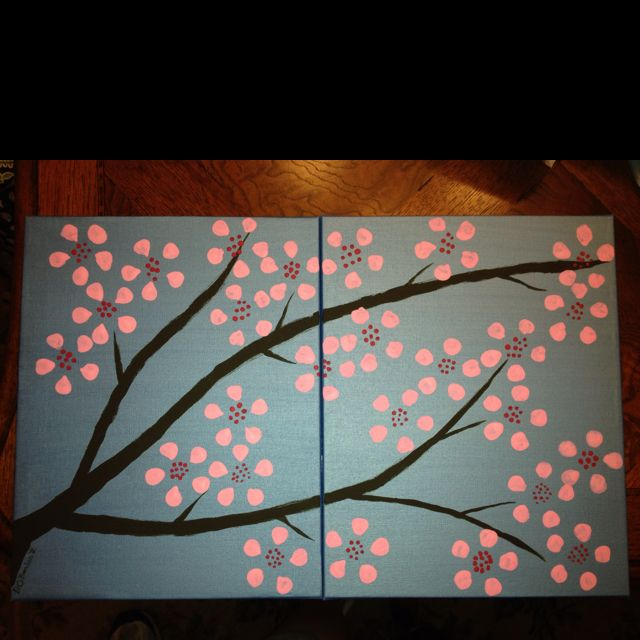Pin By Deborah O Hanlon On Getting Crafty Things That I Have Made Cherry Blossom Art Tree Painting Multi Canvas Painting