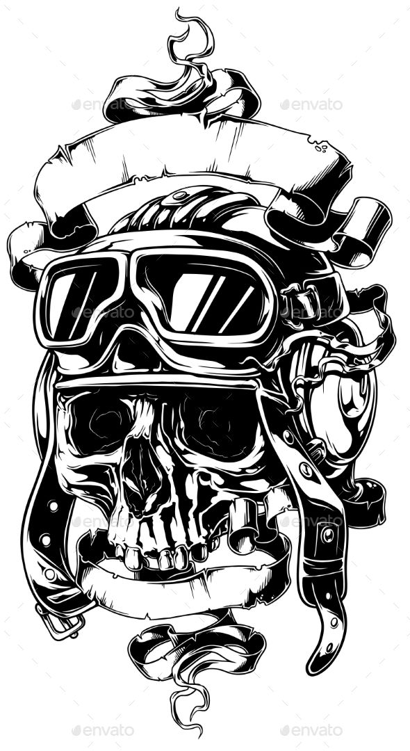 detailed human skull in helmet with ribbons
