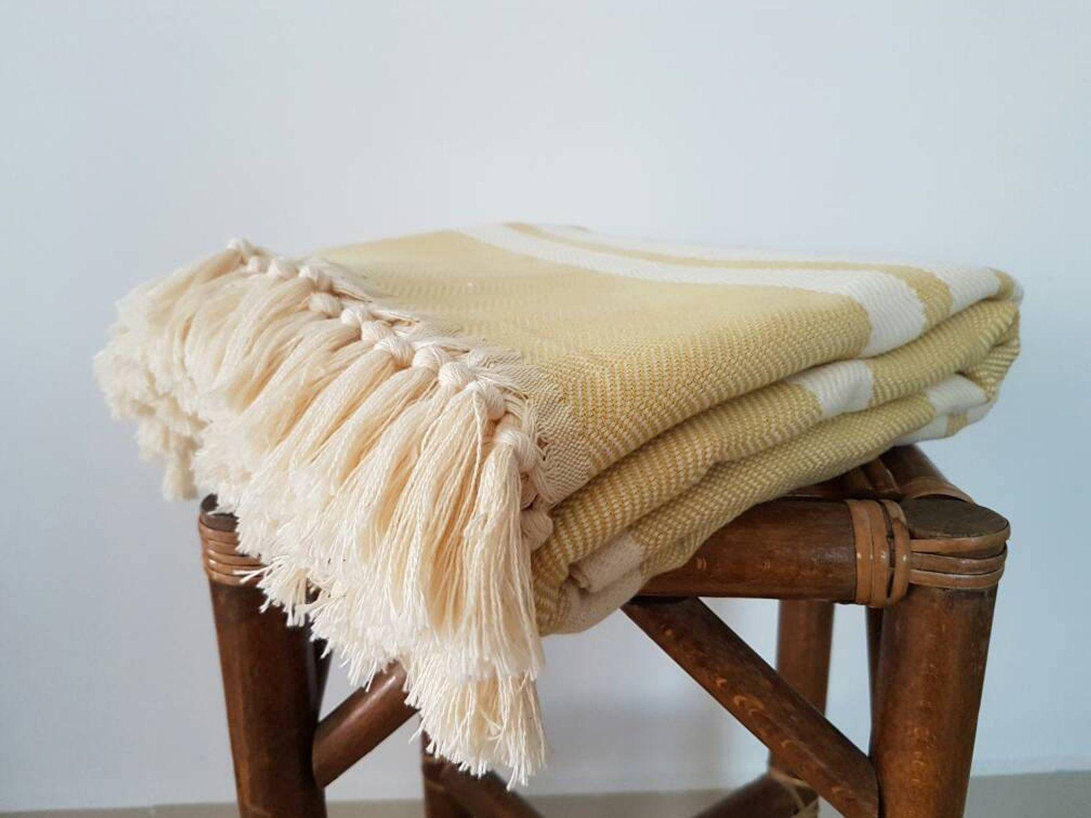 Mustard Herringbone Blanket 100 Cotton Woven Blanket Dijon Yellow Blanket Summer Coverlet Blanket With Fringes Cotton Bedspread Mustard Bedding Herringbone Blanket Blanket