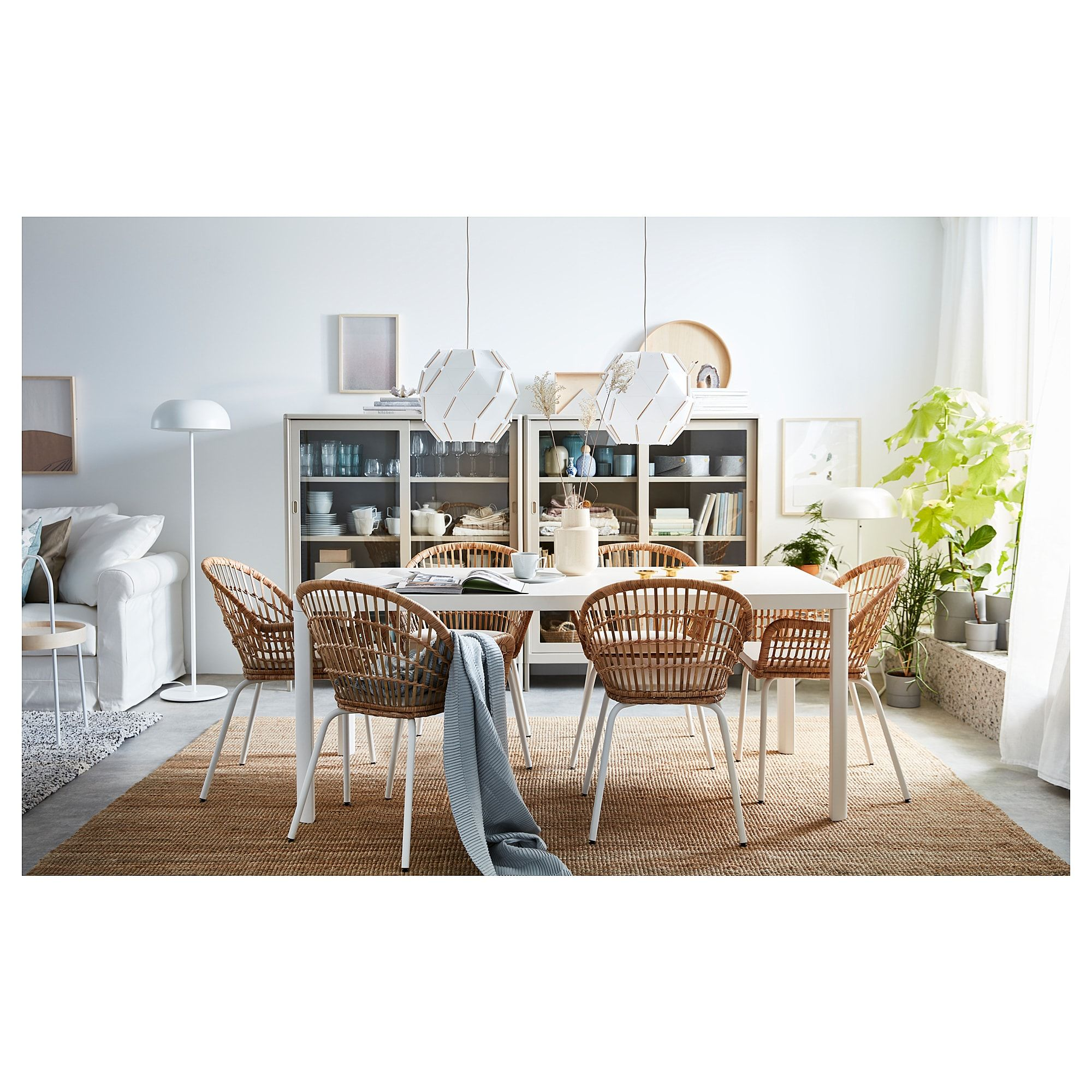 Nilsove Chair With Armrests Rattan White In 2019 Dining