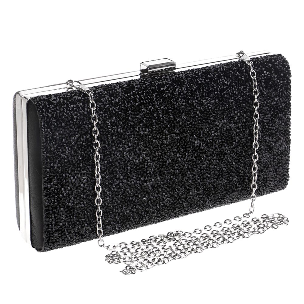 Mlotus Crystal Hard Case Clutch Handbag Evening Bag with Detachable Chains