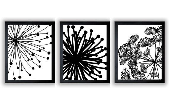 Black white flower print flowers dandelion set of 3 art prints wall decor bathroom modern minimalist