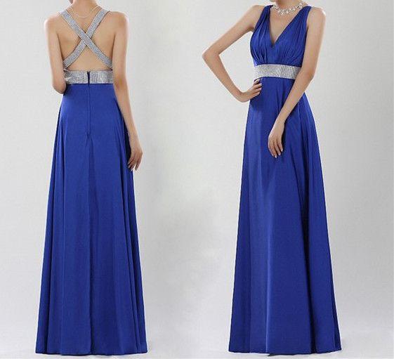 Royal Blue Prom Dress,Beaded Prom Dress,Backless Prom Dress,Fashion ...