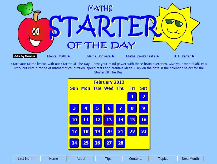 Image result for maths starter of the day
