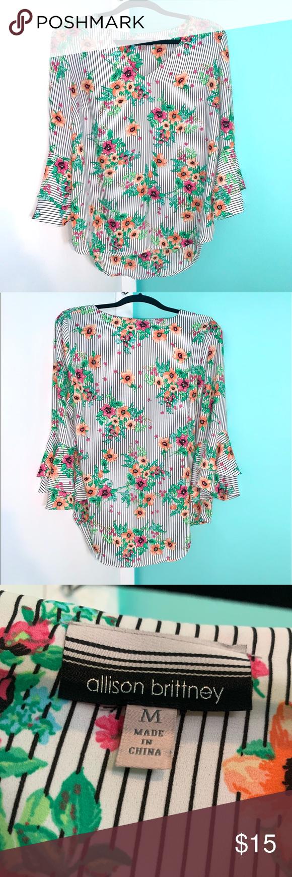 Floral striped blouse Floral striped blouse with ruffled sleeves Allison Brittney Tops Blouses #myposhpicks