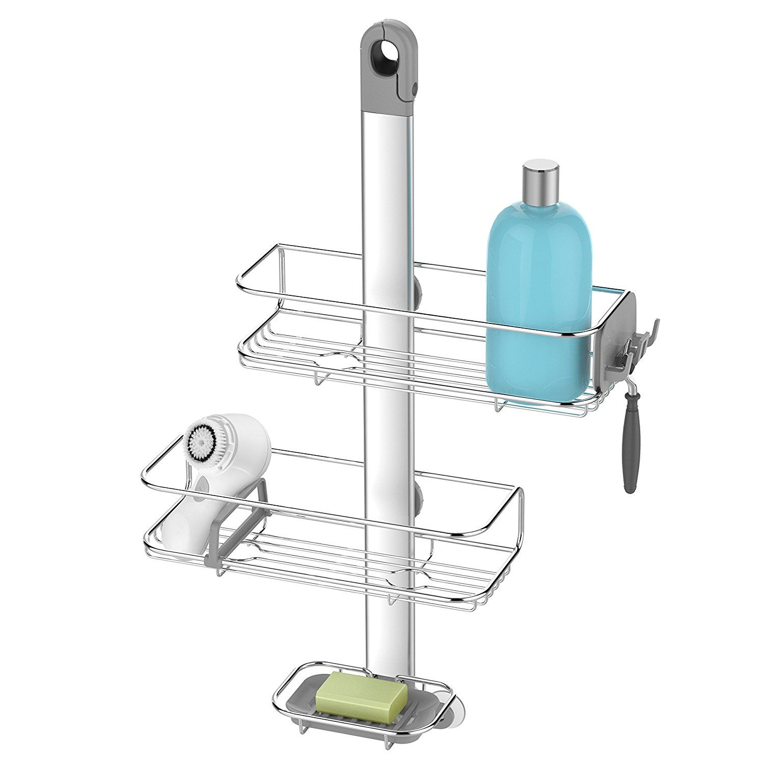 Amazon.com: simplehuman Adjustable, Hanging Shower Caddy, Stainless ...