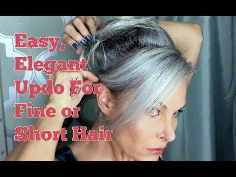 Easy Elegant Updo For Fine Or Short Hair Youtube In 2020 Short Hairstyles Fine Fine Hair Updo Easy Hair Updos