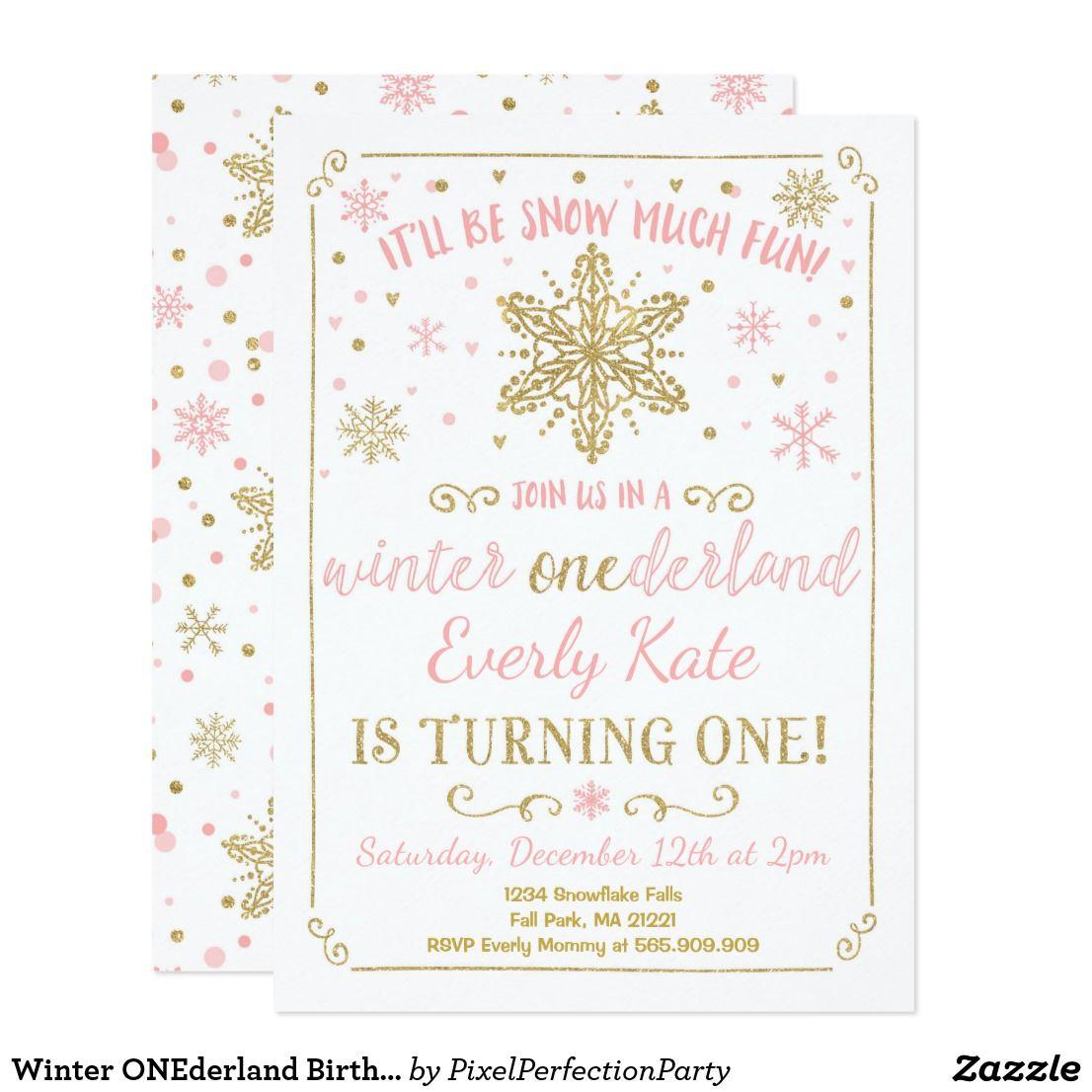 Winter Onederland Birthday Invitation Pink Gold Zazzle Com Winter Onederland Birthday Invitations Winter Onederland Birthday Birthday Invitations