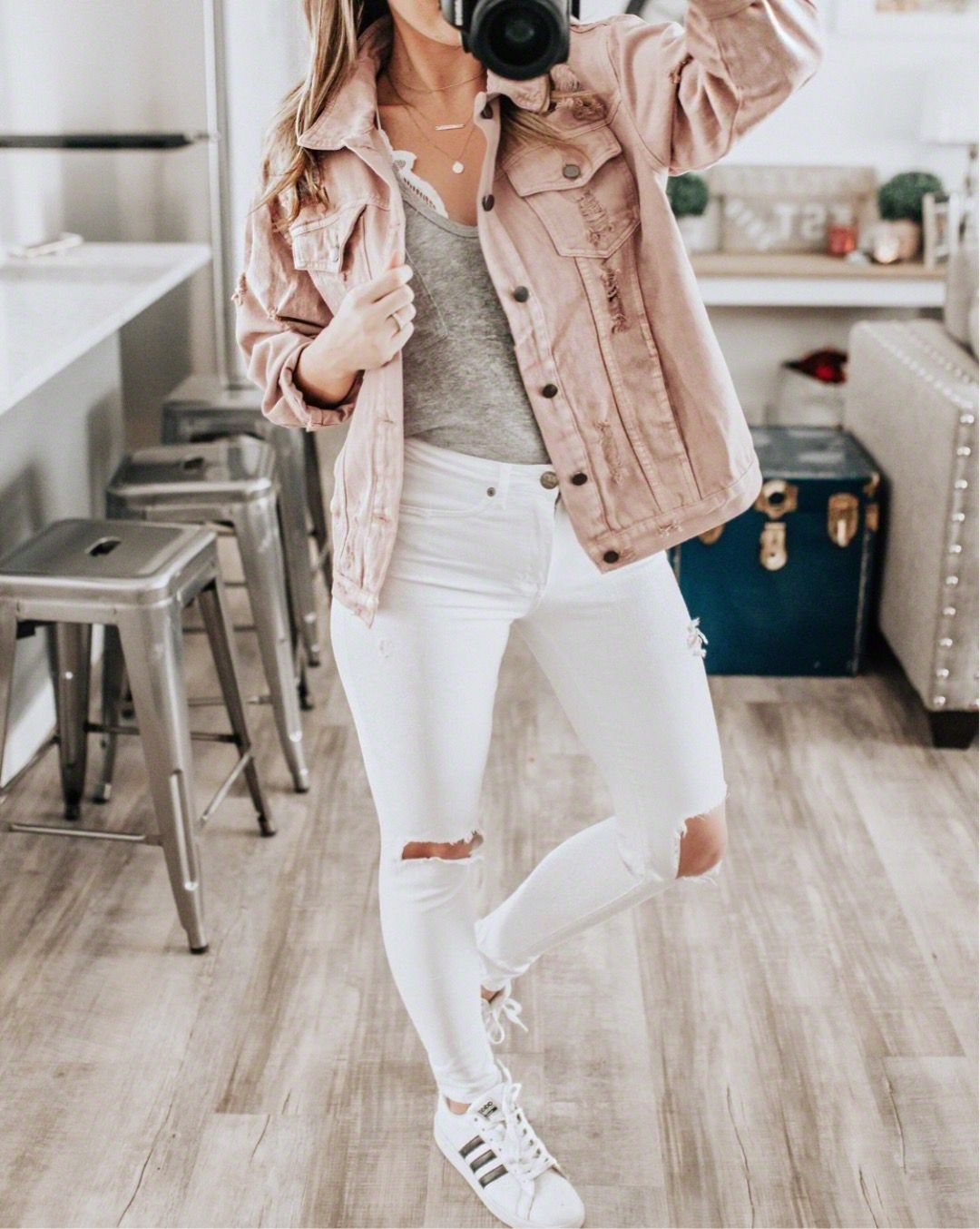 2e58fca20e soft pink distressed denim jacket is perfect for Spring style. pair it with  adidas + white denim for a full casual look