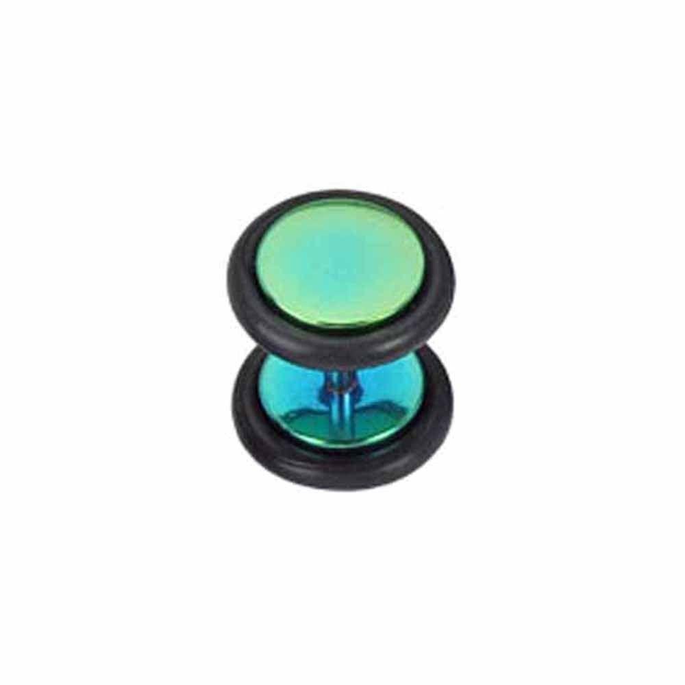 Metallic Bluegreen Finish Single Men's Ear Stud 10mm Fake Ear Plug  #mensfashion #