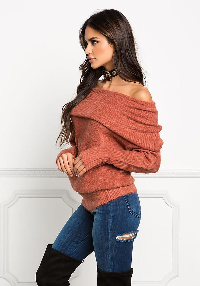 c0f30f1b643 Rust Fuzzy Knit Off Shoulder Fold Over Sweater Top - Sweaters + Cardigans -  Tops - Clothes