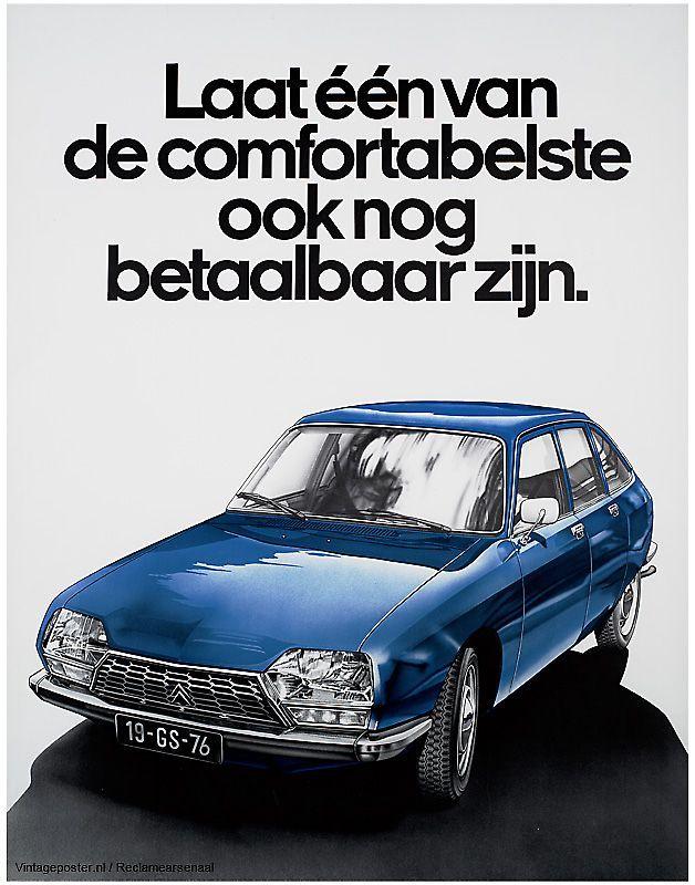 Reclame posters   1976   Laat n van de comfortabelste ook nog betaalbaar zijn - Citron GS   Vintageposter.nl   Vintage Posters   Historische Posters   Historical Posters