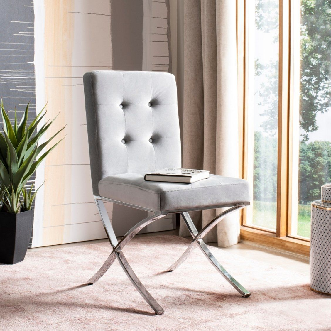 gray velvet dining chair with silver legs