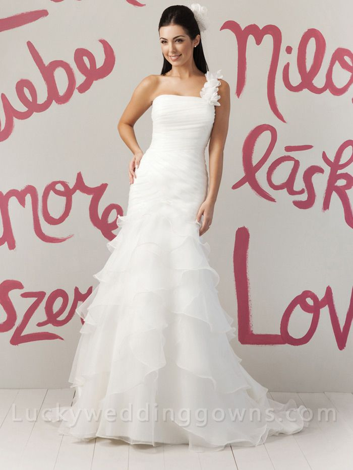 Organza One Shoulder Summer Wedding Dress with Draped Tiered Skirt
