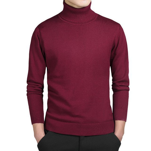 Kenntrice Turtleneck Sweaters Men Solid Long Sleeve Pullovers Men ...