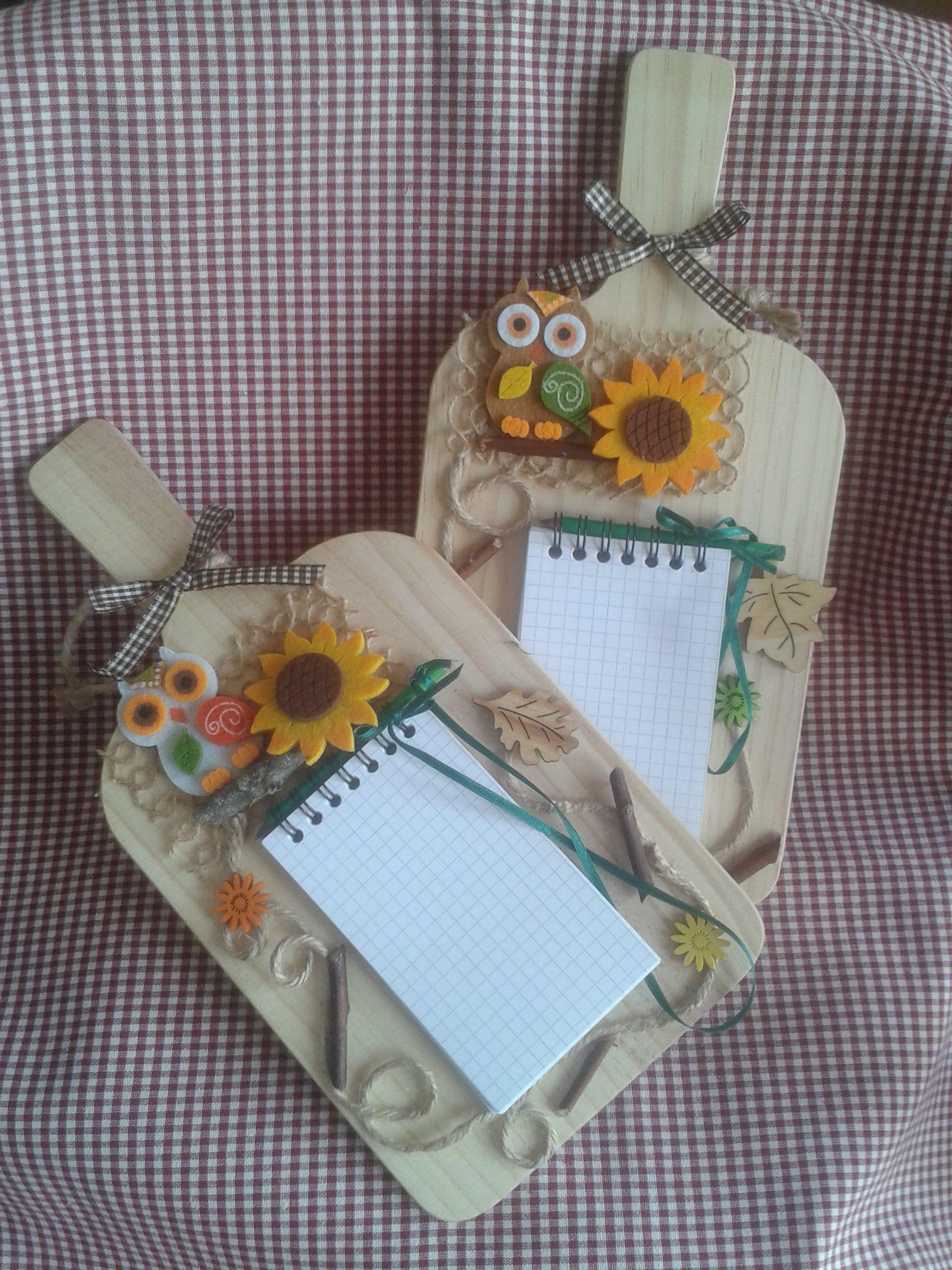 Block notes con matitina e gufo handmade by for Cucharones de cocina
