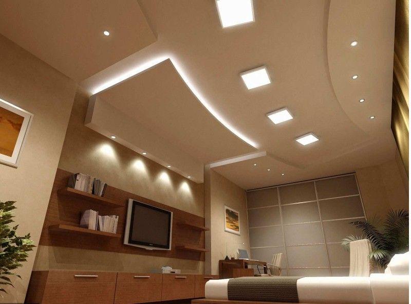 вот фото гипсокартоновых потолков совмещенных комнат нового года