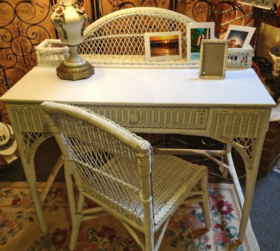 White Wicker Desk and Chair Vanity with Chair by KathyKupboard