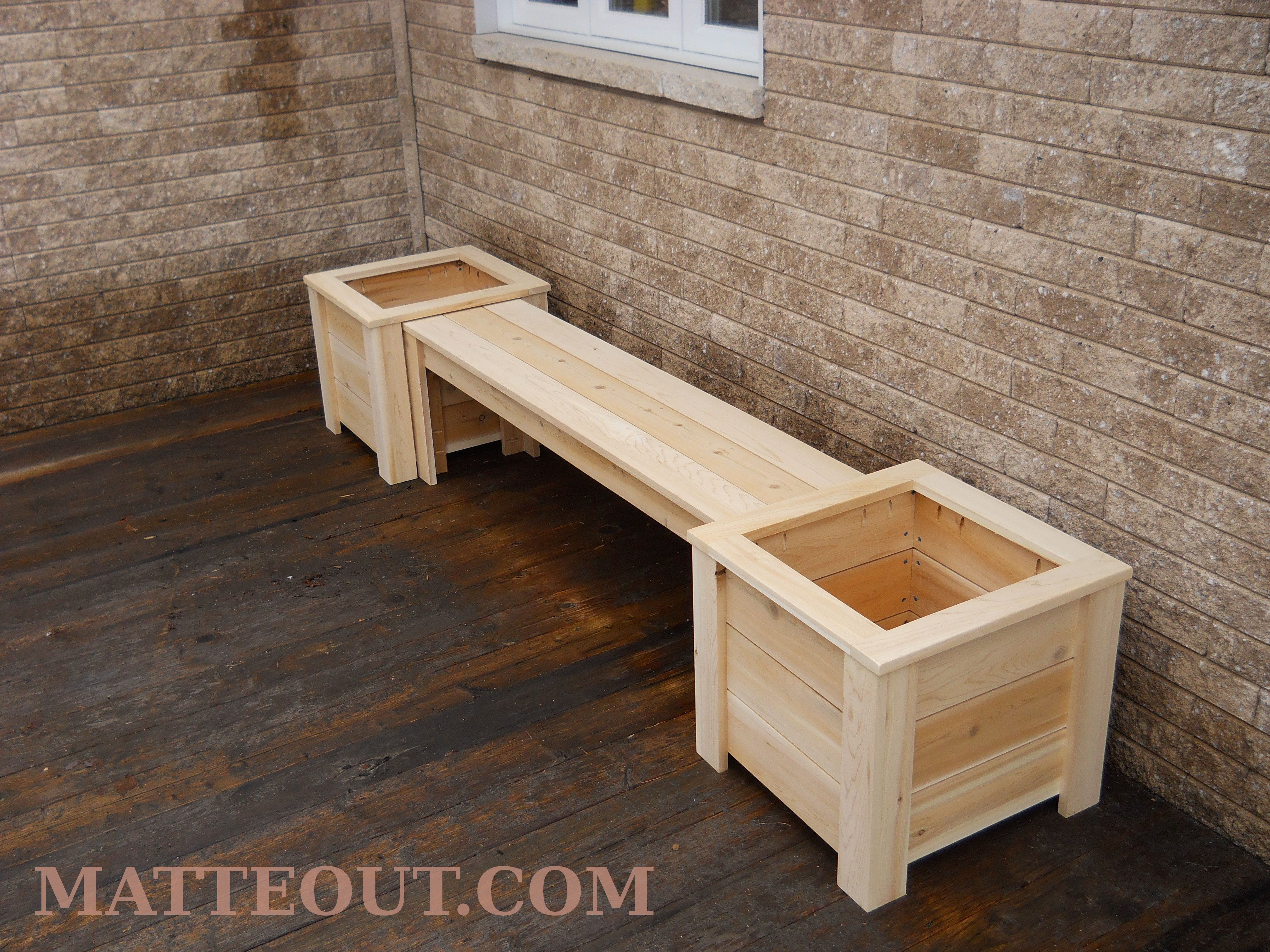 Bench With Flowerpots Made Out Of White Cedar.