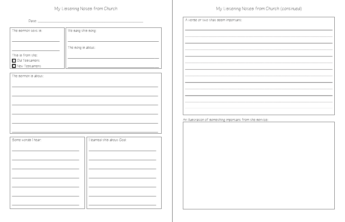 Church Listening Notes Sermon Notes Printable Download