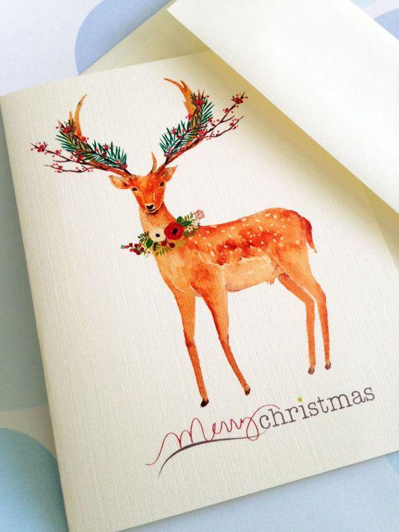 Christmas Card Set, Holiday Cards, Reindeer Cards, Set of 10 cards