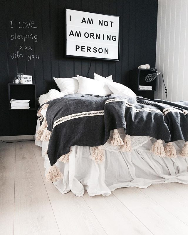 Stylish and bright black bedroom, for similar bedding try ...