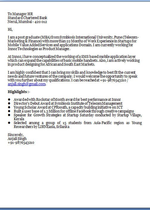 cover letter for a job Sample Template Example ofExcellent ...