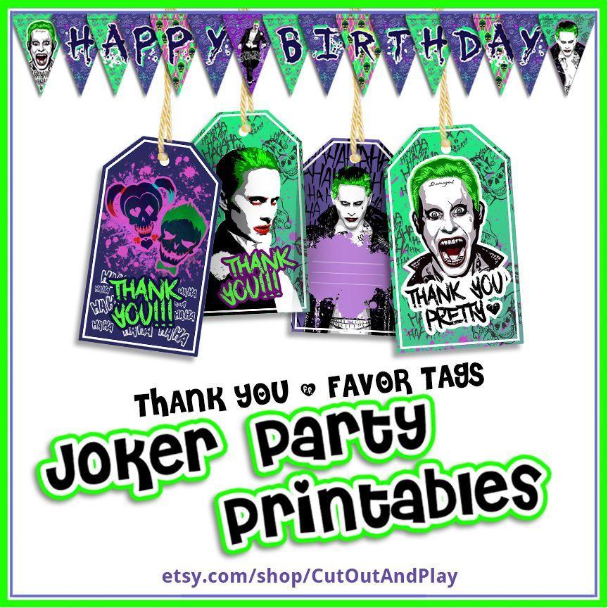 Joker Party Printables, Suicide Squad Party Favors