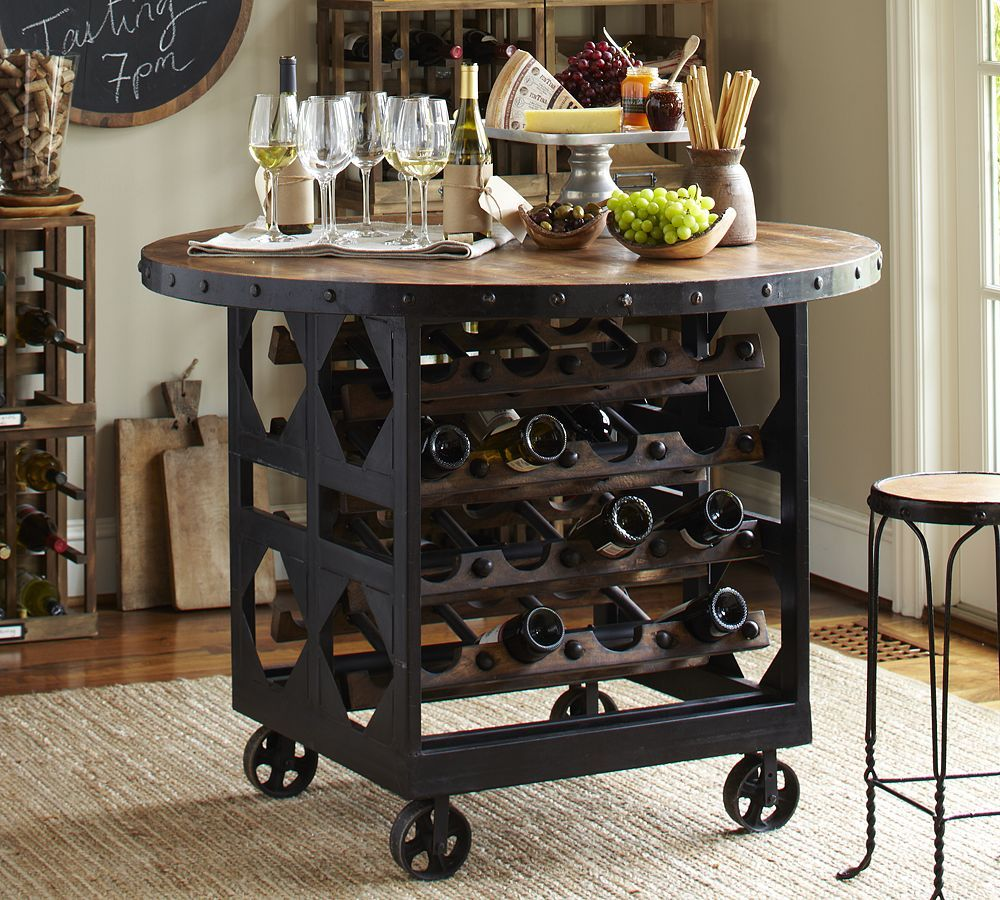 Industrial Chic Wine Rack Furniture Dining Table With Storage Wine Rack Table