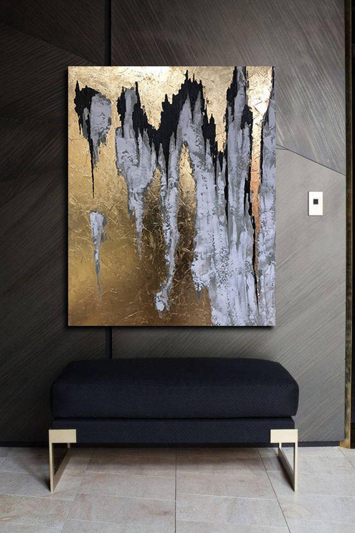black white painting abstract large gold wall art 40 leaf abstrakt malerei abstrakte kunst gemalde amazon bilder maler