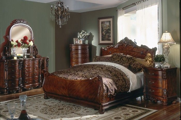Monticello Cherry Wood Sleigh Bedroom Set B2900 Ku0026B Furniture