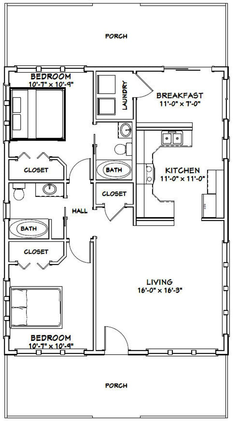 Model 2B PDF Floor Plan 1,008 sq ft 2 Bedroom 1 Bath 28x36 House