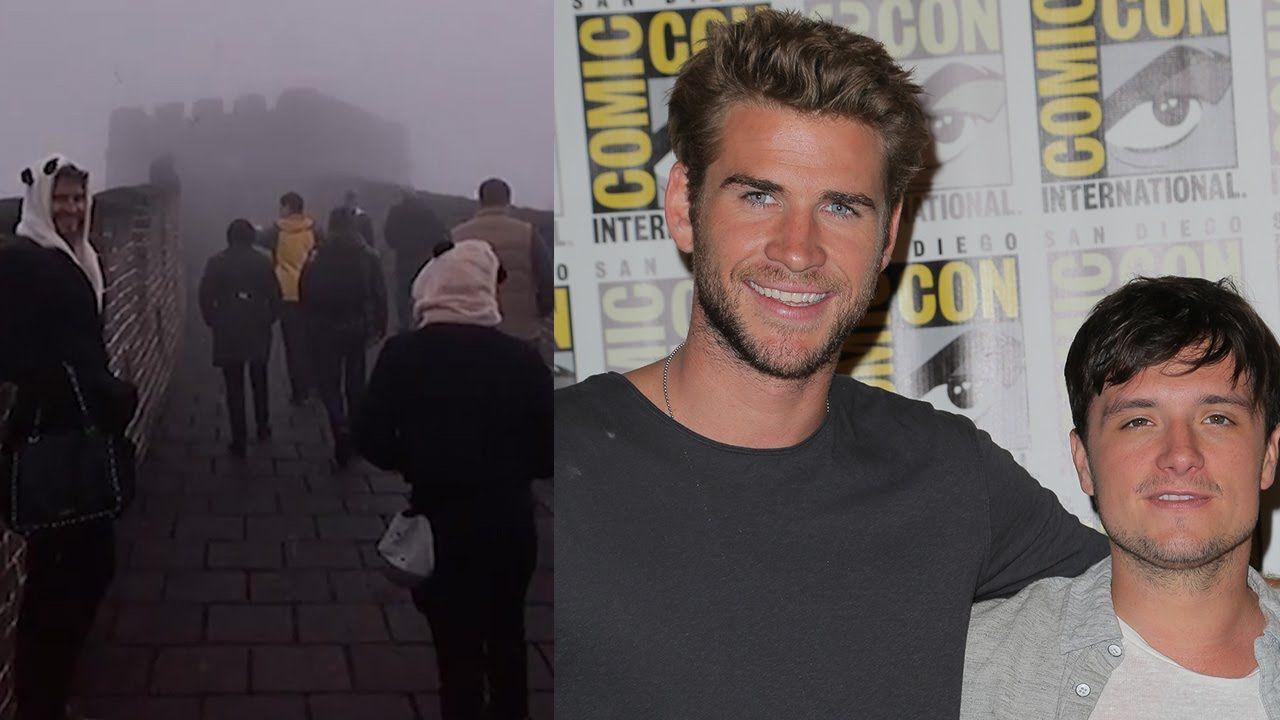 Liam Hemsworth & Josh Hutcherson Dress As Pandas On Great Wall of China