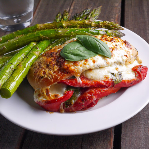 Photo of Roasted Red Pepper Mozzarella and Basil Stuffed Chicken