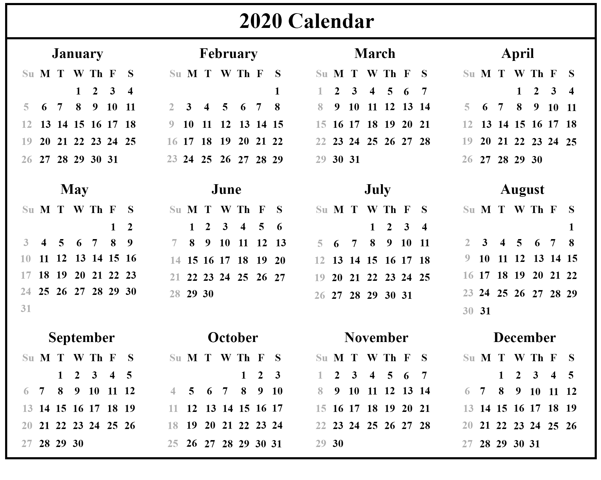 Download This Free 2020 Printable Calendar With A Simple Black And White Desi Free Printable Calendar Templates Calendar Printables Printable Calendar Template