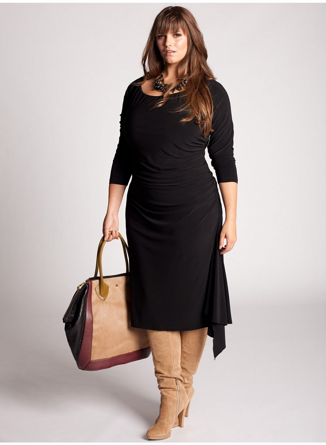 Love the brown boots and light handbag with black dress. This ...