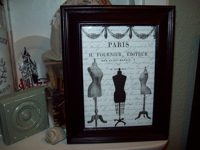 Shabby chic Paris picture frame dress forms ,Paris decor,French ...