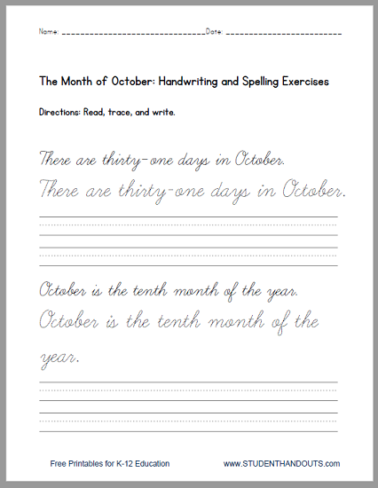 print or cursive october handwriting practice sentences worksheets free to print pdf files. Black Bedroom Furniture Sets. Home Design Ideas