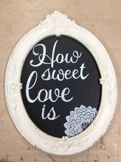 Hand-drawn chalkboard sign for wedding favors: assorted candies