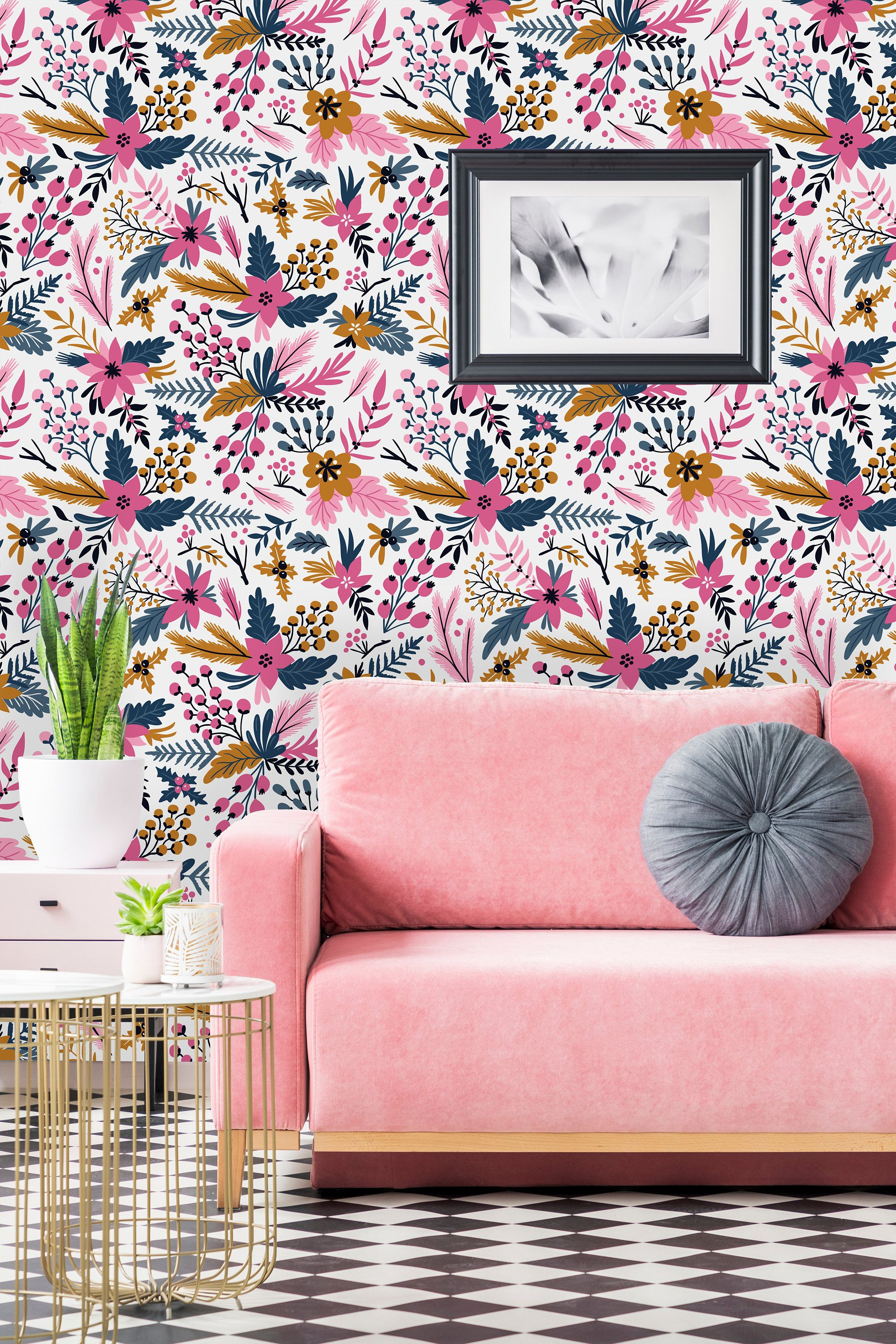 Bright Pink Flowers Removable Wallpaper Peel And Stick Etsy Wallpaper Pink And Blue Wall Wallpaper Wall Murals