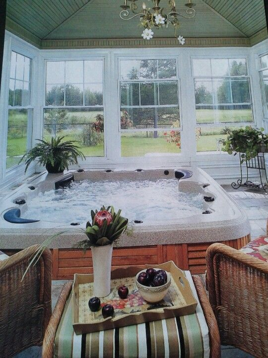 Solarium Hot Tub Sauna Room Would Feel So Good To My Bones Hot Tub Room Hot Tub Patio Hot