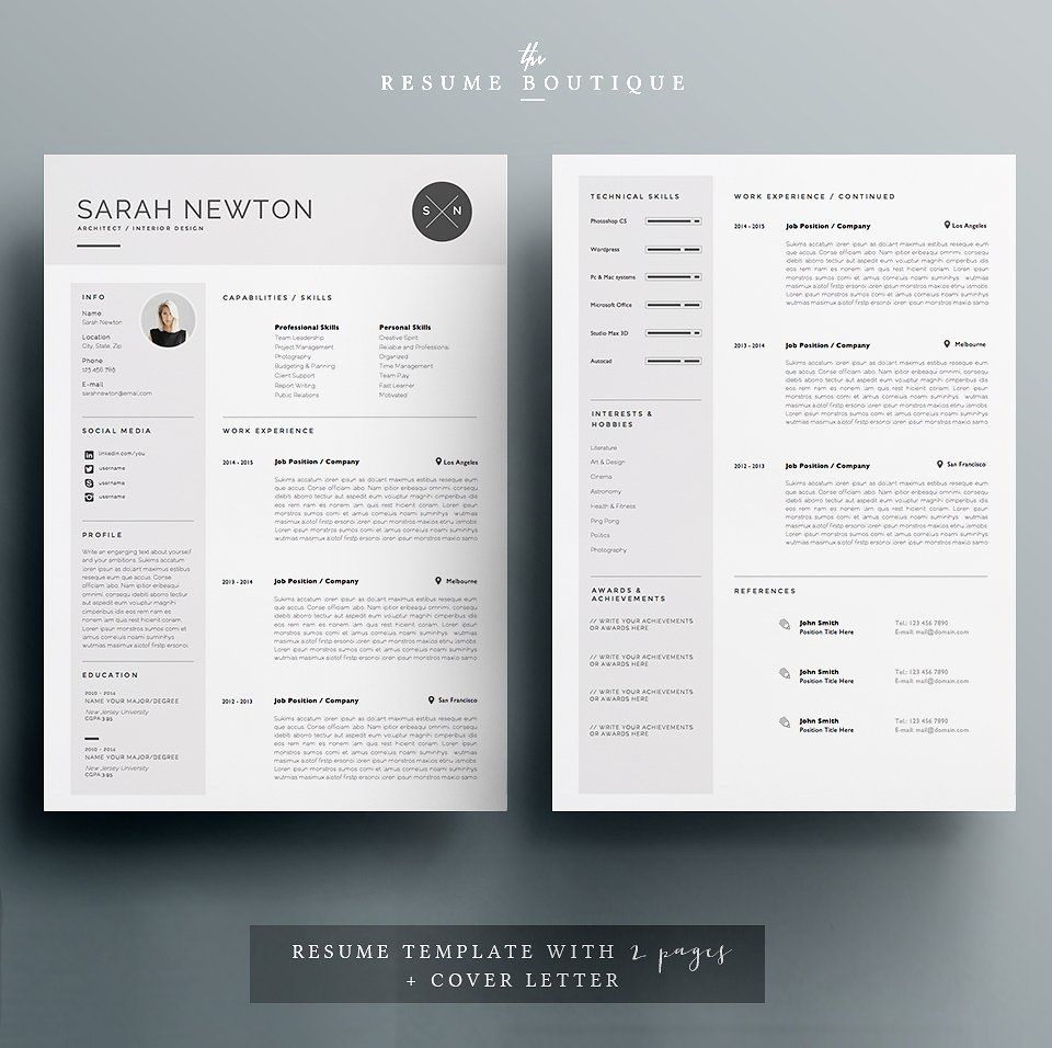 Resume template 4 pages moonlight by thesumeutique on resume template 4 pages moonlight by thesumeutique on creativemarket yelopaper Images