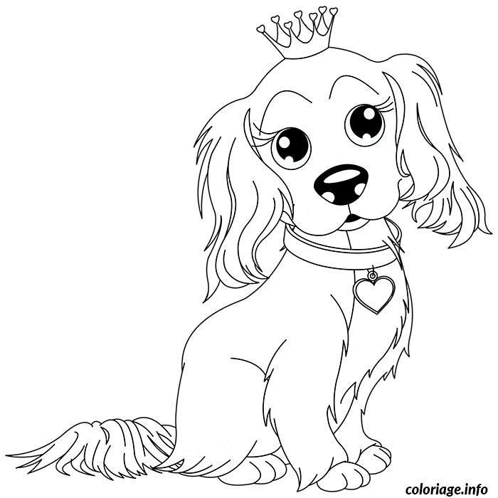 coloriage chien king charles avec sa couronne dessin imprimer - Coloriage Chien